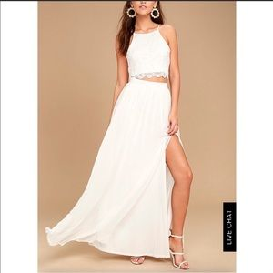 Lulu's white lace 2 piece maxi